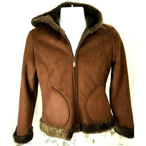 Mudd Coat Soft Shell Faux Brushed Suede Brown